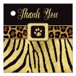 Great black and gold zebra and leopard wild animal prints 16th birthday party favor tag.