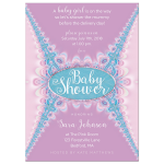 Lace Pink Girl Baby Shower Invitation