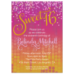 Pink Candy Sweet 16 Birthday Party Invitation