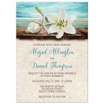 Wedding Invitations - Beach Lily Seashells and Sand