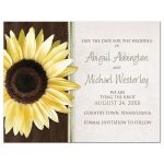 Save the Date Magnets - Country Sunflower Wood Brown Green