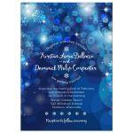 Snowflake Blue Bokeh Winter Bridal Wedding Shower Invitation