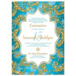 Great teal blue, gold and white snowflakes and glitter damask pattern Quinceañera 15th birthday party invitation.