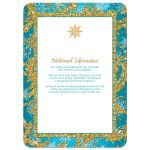 ​Best teal blue, gold and white snowflakes and glitter damask pattern Quinceañera 15th birthday party invite.