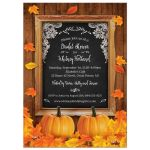 Rustic Autumn Pumpkin and Leaves Chalkboard Frame Bridal Wedding Shower Invitation