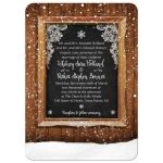 Rustic Winter Snow Chalkboard Frame Wedding Invitation