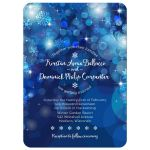 Snowflake Blue Bokeh Winter Wedding Invitation