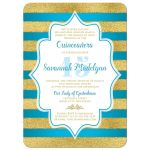 best turquoise blue and gold glitter sweet 15 birthday invitation