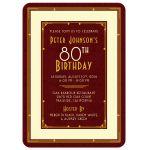 Elegant maroon, gold, and ivory art deco man's 80th birthday invitation front