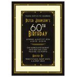 Elegant black, gold, and ivory art deco man's 60th birthday invitation front
