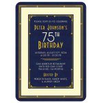 Elegant navy blue, gold, and ivory art deco man's 75th birthday invitation front