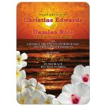 Hibiscus and frangipani beautiful sunset beach tropical destination wedding invitation front
