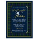 Scottish Black Watch tartan or Campbell clan tartan 90th birthday invitation front