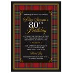 Scottish Royal Stewart tartan or Royal Stuart tartan 80th birthday invitation front