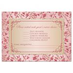 Best blush pink, dusty rose, champagne, and gold floral wedding response cards with joined jewel and glitter hearts buckle, ribbon and ornate scroll.