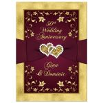 Great burgundy wine and gold floral 50th wedding anniversary invitation with ribbon, joined hearts, glitter, and gold foil.
