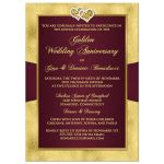 Best maroon and gold floral 50th wedding anniversary invites with ribbon, joined hearts, glitter, and gold foil.