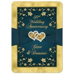 Great teal blue and gold floral 50th wedding anniversary invitation with ribbon, joined hearts, glitter, and gold foil.