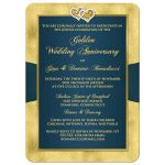 Best peacock blue and gold floral 50th wedding anniversary invites with ribbon, joined hearts, glitter, and gold foil.