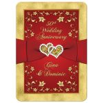 Great red and gold floral 50th wedding anniversary invitations with ribbon, joined hearts, glitter, and gold foil.