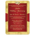 ​Best red and gold floral 50th wedding anniversary invitates with ribbon, joined hearts, glitter, and gold foil.