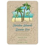 Retro palm tree and sand beach wedding invitations or destination wedding invitation front