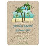 Retro palm tree and sand beach wedding invitations or destination wedding invitation front