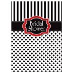 Great black and white striped bridal or wedding shower invitation with polka dots and red accents.