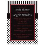 Best black and white striped bridal shower invites with polka dots and red accents.