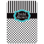 Great black and white striped bridal or wedding shower invitation with polka dots and turquoise or teal blue accents.