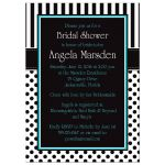 ​Best black and white striped bridal shower invites with polka dots and turquoise or teal blue accents.