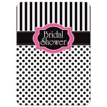 Great black and white striped bridal or wedding shower invitation with polka dots and pink accents.