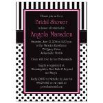 ​Best black and white striped bridal shower invites with polka dots and pink accents.