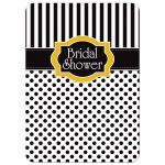 Great black and white striped bridal or wedding shower invitation with polka dots and yellow accents.