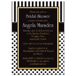 ​Best black and white striped bridal or wedding shower invites with polka dots and yellow accents.