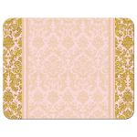 Blush pink and gold vintage damask wedding RSVP reply card back