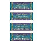 Great customized purple, teal blue and gold foil wedding return address mailing labels with flourishes.