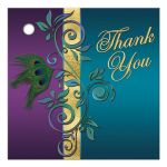 Great customizable purple, teal blue and gold foil peacock feather wedding favor thank you tag with flourish.