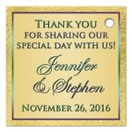 Best custom purple, teal blue and gold foil peacock feather wedding favor thank you tag with flourish.