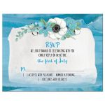 Blue and green anemone flower and wildflower watercolor floral wedding RSVP reply card front