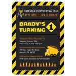 Boy's construction theme birthday party invitation