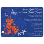 Best blue, orange and white tropical beach theme wedding reception only invite with scallop sea shells, butterflies, hibiscus flowers, starfish and palm trees.
