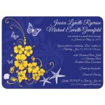 Great blue, yellow and white tropical beach theme wedding invites with scallop sea shells, butterflies, hibiscus flowers, starfish and palm trees.