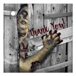 Great personalized ​zombie theme thank you favor tag.