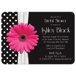 Retro and chic black and white polka dot, pink gerbera daisy bridal shower invitation