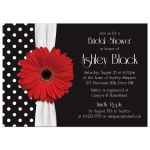 Retro and chic black and white polka dot, red gerbera daisy bridal shower invitation