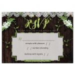 Woodsy Rustic Lace Wedding RSVP Card