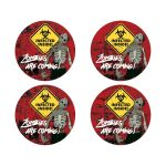 "Great zombie outbreak theme Bar Mitzvah or Bat Mitzvah party favor stickers or envelope seals with ""Zombies are coming!"" on it."