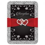 Great black and silver floral wedding enclosure cards with red ribbon, scrolls, glittery crystals, and joined jeweled hearts on it.