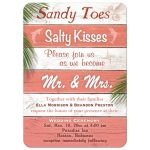 Coral & White Stripped Beach Sign Wedding Invitation